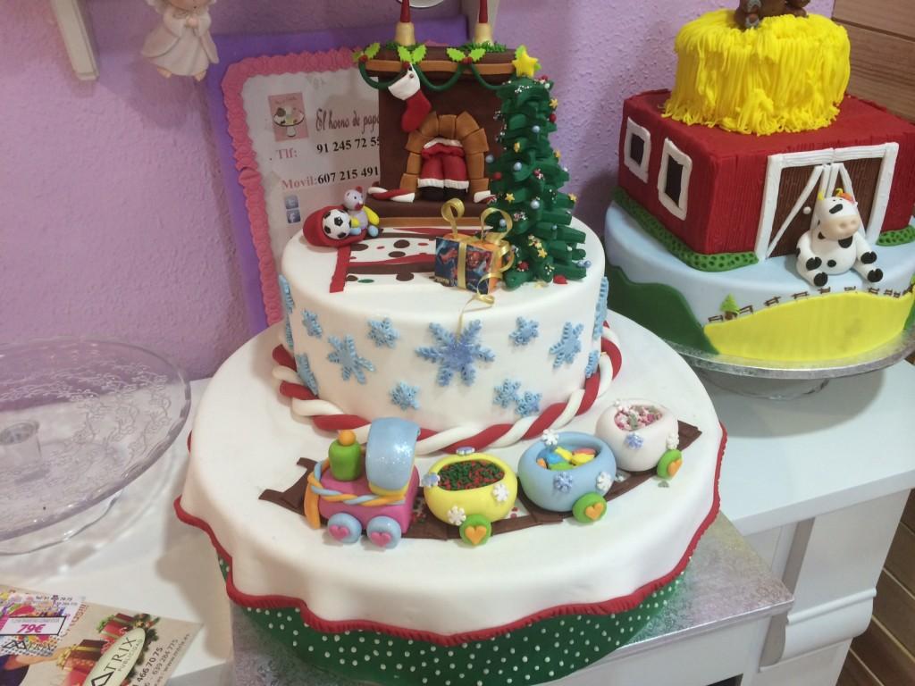 Tarta Fondant con motivos navideños