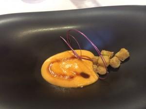 Crema catalana de melocotón con toffe de nutela